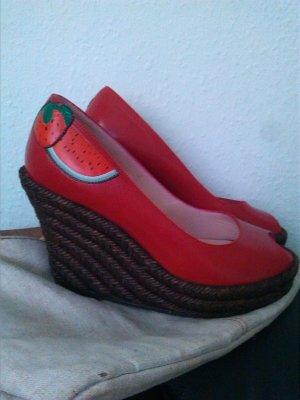 Frankie Morello Sandalo con tacco rosso-marrone Pelle