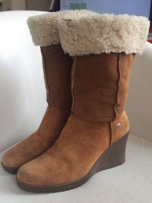 ausgefallene Ugg Keilabsatz Stiefel Gr. 40 Wildleder