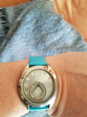 ausgefallene Uhr - silberfärbig mit beweglichem Kreis Element im Ziffernblatt