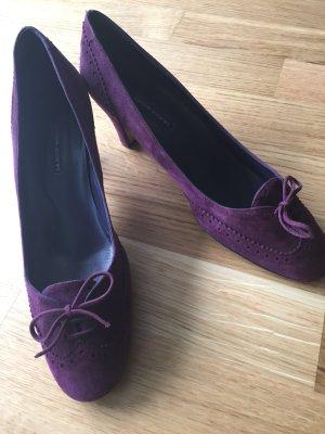 Escarpins à lacets violet cuir