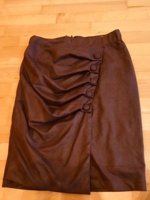 Faux Leather Skirt dark brown