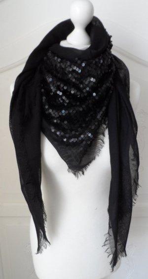 ausgefallener ESPRIT Schal / Tuch mit Pailletten Schwarz 1 x getragen