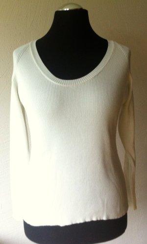 Ausgefallener, kurzer, cremeweißer Pullover