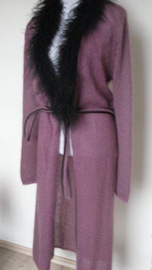 Ausgefallener Long Coat Strickmantel Mohair aus Italien Gr. S/M Lederdetails