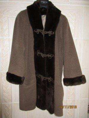 Abrigo de invierno marrón claro-marrón oscuro lana de esquila