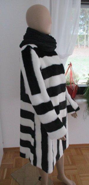Ausgefallener Pelzmantel Fake Fur black/white 36 NEU