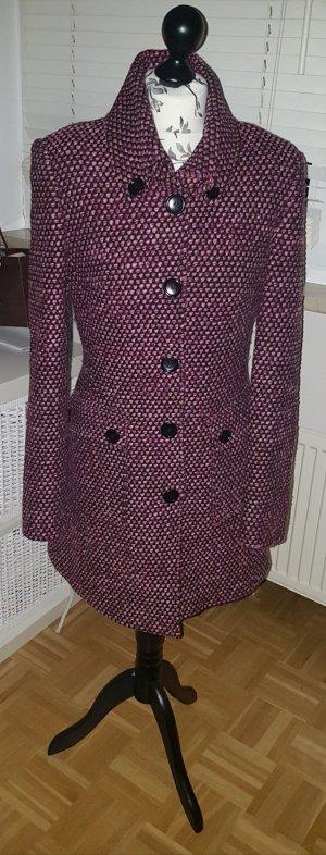 Ausgefallener pink-lila-rosa Tweed-Mantel