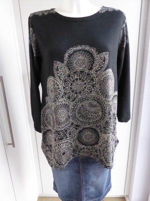 Jersey largo negro-crema tejido mezclado