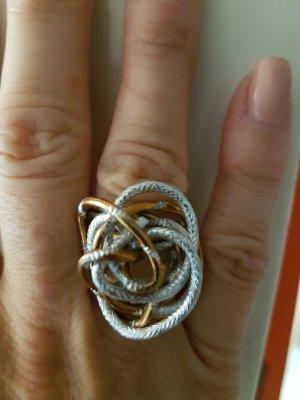 ausgefallener Ring - gold u silber förbig mit kleinen Steinchen