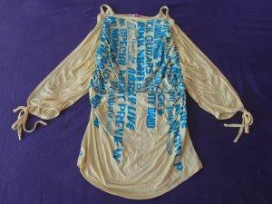 ausgefallenes 80ziger Shirt von Fornarina Gr. S gelb mit Fledermausärmeln