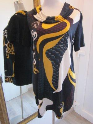 Ausgefallenes Kleid mit Kragen Kurzarm schwarz bunt Gr L