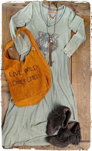 Vestido largo gris verdoso-caqui Algodón