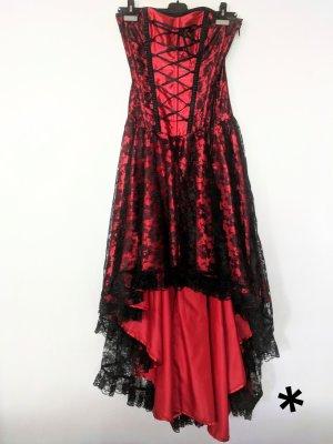 Ausgefallenes rotes Kleid mit Corsagenoberteil