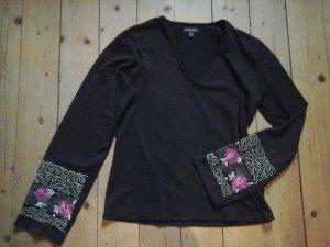 ausgefallenes Shirt Langarmshirt schwarz Street one blumen Stickerei top