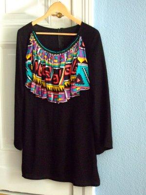 ausgefallenes Vintage Kleid bunter Kragen Aztek Muster grafisch Gr S M Longshirt