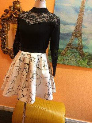 Falda de talle alto blanco puro-negro