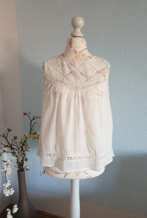 Mango Lace Top white cotton
