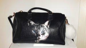 aussergewöhnliche Ledertasche Katzenprint Bowlingbag Speedy