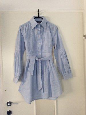 Lange blouse wit-azuur Katoen