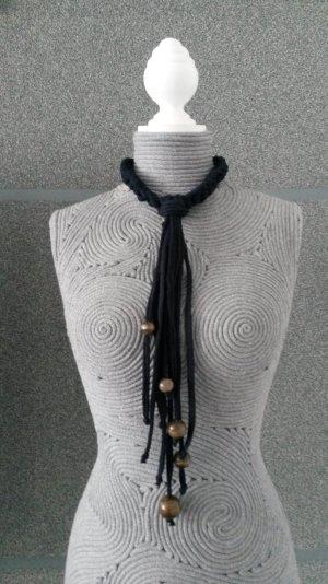 Necklace dark blue-brown cotton