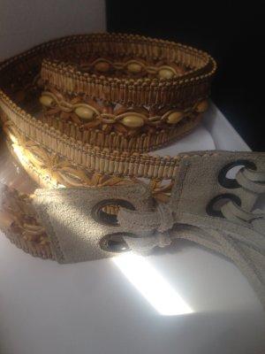 Cinturón trenzado marrón arena-marrón claro