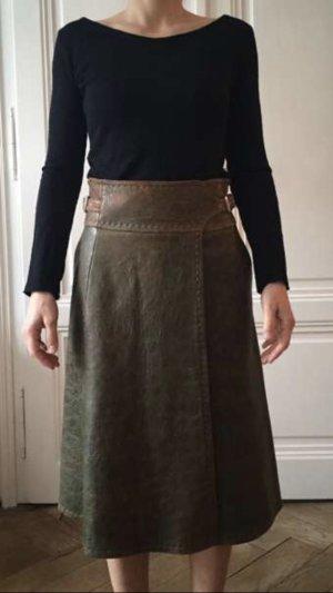 Max Mara Leather Skirt cognac-coloured