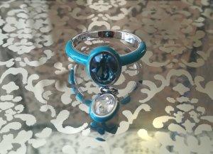 Swarovski Silver Ring white-light blue