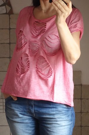 Aust Fashion, Shirt, rosa, vorne zweilagig mit Öffnungen, lässig, ausgefallen, hoher NP, Italy, NEU, S/M