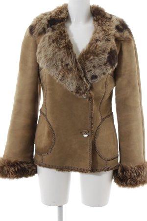 Aust Veste en cuir beige-marron clair style extravagant