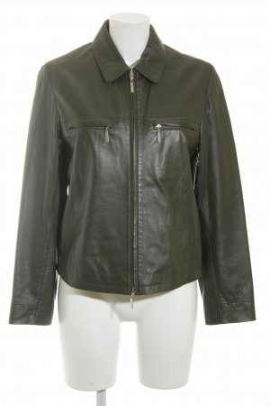Aust Leather Jacket dark green retro look