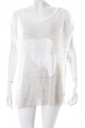Aust Oversized Shirt weiß-hellbeige Herzmuster Casual-Look