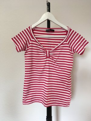 Aust T-shirt col en V magenta-blanc tissu mixte