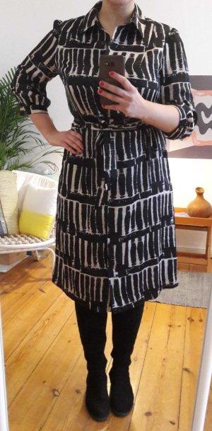 Austin Reed bedrucktes schwarzes weiss-cremiges Kleid