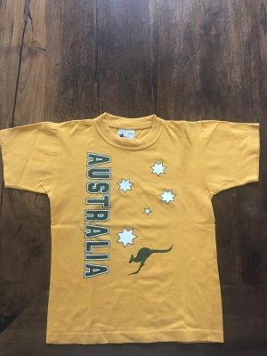 Camiseta estampada naranja dorado-verde bosque