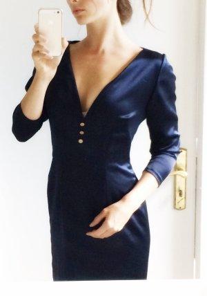Dress dark blue-gold-colored silk