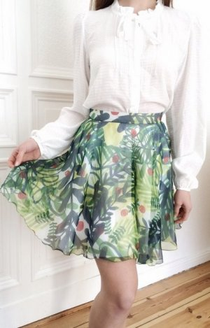 * AUSVERKAUF * SUPER SCHNÄPPCHEN * 230€ Eleonora Carisi x Zalando Rock 100% Seide grün Pflanzen Luxus Premium Designer Minirock XS 34
