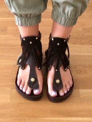 Birkenstock Flip-Flop Sandals dark brown-gold-colored