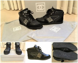 Auth.Chanel Cambon Leather Sneakers,Schuhe,Turnschuhe Schwarz Gr.37/37,5