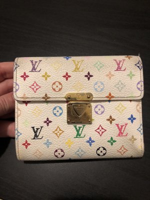 Auth Louis Vuitton Monogram Multicolore Koala Wallet White
