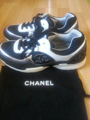 Authentic CHANEL CC Schwarz silber Wildleder Lace Up Sneakers Größe 39 W.neu