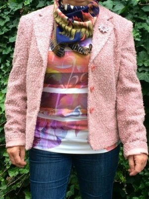 AUTHENTIC CLOTHING COMPANY Blazer Jacke mit Brosche rosa Wolle