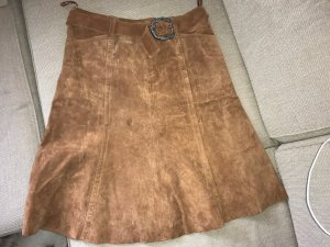 Authentic Jupe en cuir brun-cognac