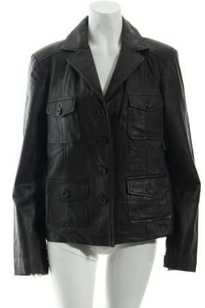 Authentic Leather Blazer dark brown biker look