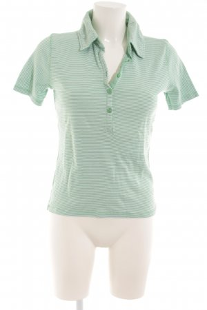 Authentic Polo Shirt lime-green-white horizontal stripes casual look