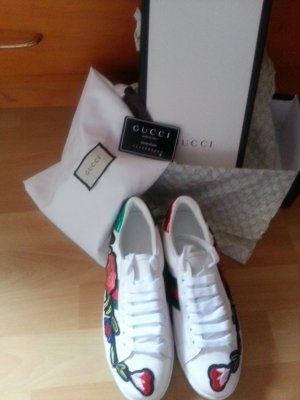 authentisch Gucci New Ace Embroidered Blumen-Low-Top Sneaker, Weiß / Multi Size:38,5