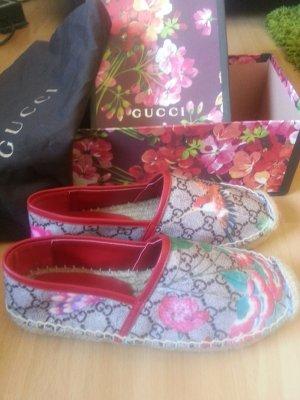 Authentische Gucci Pilar GG Blüten Espadrille Größe 38 Leder w.neu
