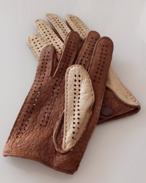 Leather Gloves pale yellow-light brown leather