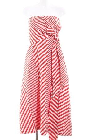 Autograph Vestido bustier blanco-rojo estampado a rayas elegante