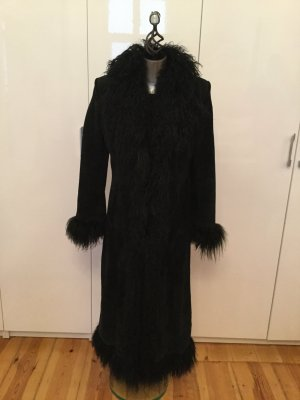 Galeries lafayette Manteau long noir cuir