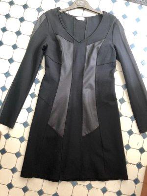 Avantgarde schwarzes Herbst Winter Kleid